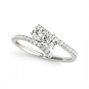 Trendy Two Stone Round Solitaire Engagement Ring
