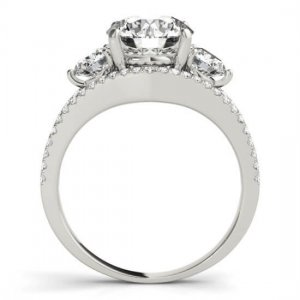 Round 3 Stone With Multi Row Band Engagement Ring